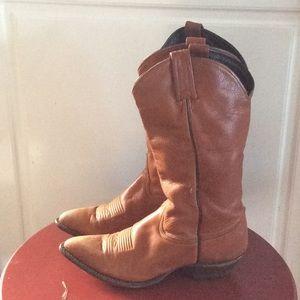 Tony Lama Chocolate Cow Boots . Vintage & RARE